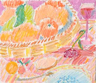 dessin michel ducruet, corbeille de fruits, still life