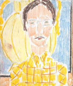 michel ducruet, self portrait in yellows, autoportrait en jaune.1978.