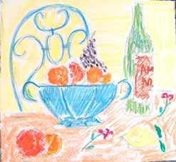 michel ducruet, oranges , still life with oranges and blue bowl